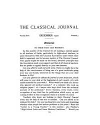 The Classical Journal : 1920 ; Dec. No. ... Volume Vol. 16 by Budelmann, Felix