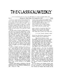 The Classical Weekly : 1907 ; Nov. 16 No... Volume Vol. 1 by Clarke, Keith