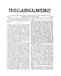 The Classical Weekly : 1908 ; Jan. 25 No... Volume Vol. 1 by Clarke, Keith