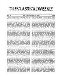 The Classical Weekly : 1908 ; Oct. 17 No... Volume Vol. 2 by Clarke, Keith