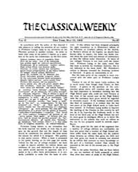 The Classical Weekly : 1909 ; May. 15 No... Volume Vol. 2 by Clarke, Keith