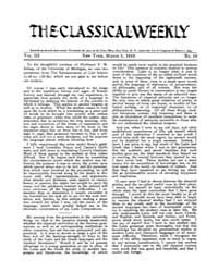 The Classical Weekly : 1910 ; Mar. 5 No.... Volume Vol. 3 by Clarke, Keith