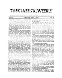 The Classical Weekly : 1911 ; Apr. 1 No.... Volume Vol. 4 by Clarke, Keith