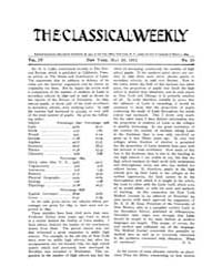 The Classical Weekly : 1911 ; May. 20 No... Volume Vol. 4 by Clarke, Keith