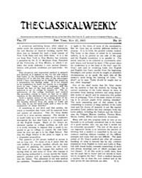 The Classical Weekly : 1911 ; May. 27 No... Volume Vol. 4 by Clarke, Keith