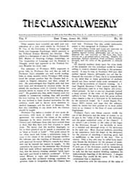 The Classical Weekly : 1912 ; Apr. 20 No... Volume Vol. 5 by Clarke, Keith