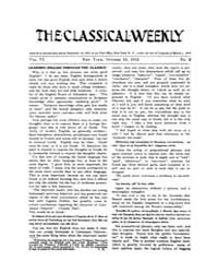 The Classical Weekly : 1912 ; Oct. 19 No... Volume Vol. 6 by Clarke, Keith