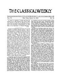 The Classical Weekly : 1913 ; Mar. 15 No... Volume Vol. 6 by Clarke, Keith