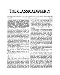 The Classical Weekly : 1913 ; Mar. 1 No.... Volume Vol. 6 by Clarke, Keith