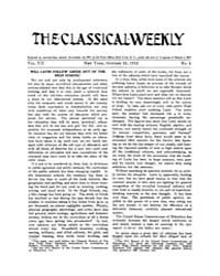 The Classical Weekly : 1913 ; Oct. 25 No... Volume Vol. 7 by Clarke, Keith