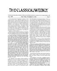 The Classical Weekly : 1914 ; Nov. 21 No... Volume Vol. 8 by Clarke, Keith