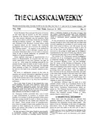 The Classical Weekly : 1915 ; Jan. 9 No.... Volume Vol. 8 by Clarke, Keith