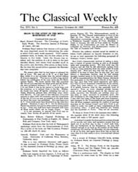The Classical Weekly : 1922 ; Oct. 30 No... Volume Vol. 16 by Clarke, Keith
