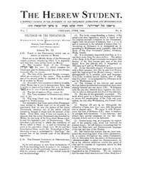 The Hebrew Student : 1882 Jun No. 3, Vol... Volume Vol.1 by