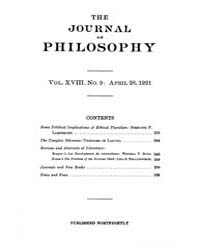 The Journal of Philosophy : 1921 Apr. 28... Volume Vol.10 by