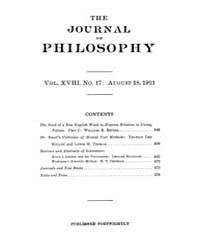 The Journal of Philosophy : 1921 Aug. 18... Volume Vol.10 by