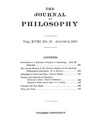 The Journal of Philosophy : 1921 Aug. 4 ... Volume Vol.10 by