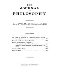 The Journal of Philosophy : 1921 Dec. 8 ... Volume Vol.11 by