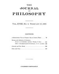 The Journal of Philosophy : 1921 Feb. 17... Volume Vol.11 by