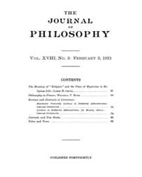 The Journal of Philosophy : 1921 Feb. 3 ... Volume Vol.11 by