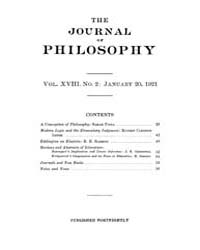 The Journal of Philosophy : 1921 Jan. 20... Volume Vol.11 by
