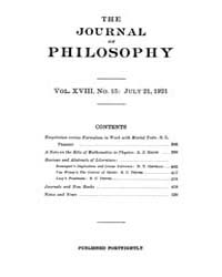 The Journal of Philosophy : 1921 Jul. 21... Volume Vol.12 by