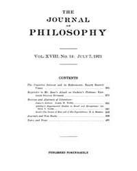 The Journal of Philosophy : 1921 Jul. 7 ... Volume Vol.12 by