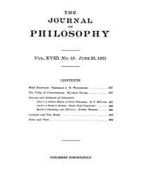 The Journal of Philosophy : 1921 Jun. 23... Volume Vol.12 by