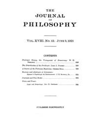 The Journal of Philosophy : 1921 Jun. 9 ... Volume Vol.12 by