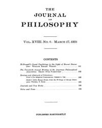The Journal of Philosophy : 1921 Mar. 17... Volume Vol.12 by