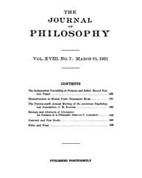 The Journal of Philosophy : 1921 Mar. 31... Volume Vol.13 by