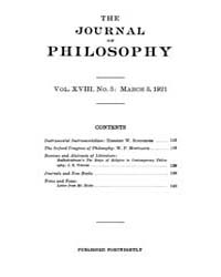 The Journal of Philosophy : 1921 Mar. 3 ... Volume Vol.12 by