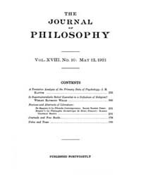 The Journal of Philosophy : 1921 May 12 ... Volume Vol.13 by