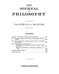 The Journal of Philosophy : 1921 May 26 ... Volume Vol.13 by