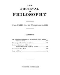 The Journal of Philosophy : 1921 Nov. 10... Volume Vol.13 by
