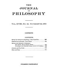 The Journal of Philosophy : 1921 Nov. 24... Volume Vol.13 by