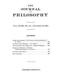 The Journal of Philosophy : 1921 Oct. 13... Volume Vol.13 by