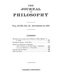 The Journal of Philosophy : 1921 Sep. 15... Volume Vol.1 by Franklin,v.P.