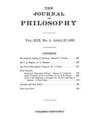 The Journal of Philosophy : 1922 Apr. 27... Volume Vol.1 by Franklin,v.P.