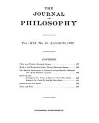 The Journal of Philosophy : 1922 Aug. 31... Volume Vol.2 by Franklin,v.P.