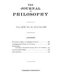 The Journal of Philosophy : 1922 Jul. 20... Volume Vol.4 by Franklin,v.P.