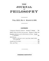 The Journal of Philosophy : 1922 Mar. 2 ... Volume Vol.5 by Franklin,v.P.