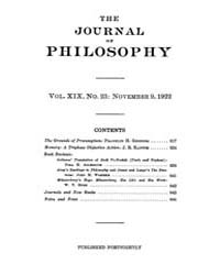 The Journal of Philosophy : 1922 Nov 9 N... Volume Vol.6 by Franklin,v.P.