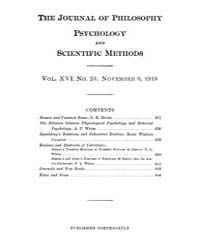 The Journal of Philosophy : Psychology a... Volume Vol.16 by