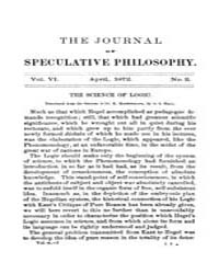 The Journal of Speculative Philosophy : ... Volume Vol.6 by Stuhr,john