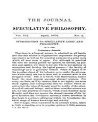 The Journal of Speculative Philosophy : ... Volume Vol.7 by Stuhr,john