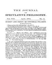 The Journal of Speculative Philosophy : ... Volume Vol.8 by Stuhr,john
