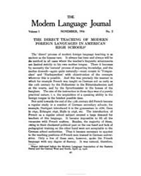 The Modern Language Journal : 1916 Nov. ... Volume Vol. 1 by