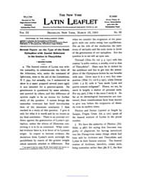 The New York Latin Leaflet : 1903 Mar. 2... Volume Vol. 3 by