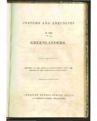 Customs and Anecdotes of the Greenlander... by Michigan State University